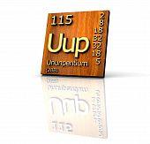 Ununpentium Periodic Table Of Elements - Wood Board poster