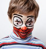 pic of pantomime  - little cute real boy with facepaint like clown - JPG