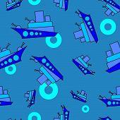 picture of battleship  - Seamless vector pattern - JPG