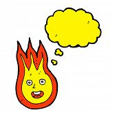 picture of fireball  - cartoon friendly fireball with thought bubble - JPG