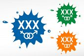 stock photo of pornography  - XXX on color blob - JPG