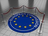 foto of european  - Round illustration laying on a tiled floor with the text European Commission including the European Union  - JPG