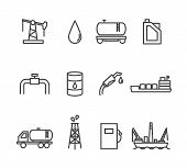 picture of petrol  - Oil and petrol industry line icon set - JPG