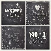 pic of you are awesome  - Creative greeting card set with different compliments on chalkboard background for Happy Father - JPG