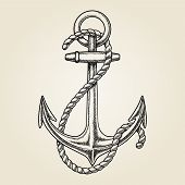 pic of roping  - Vector hand drawn nautical anchor - JPG