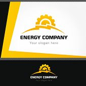 image of lightning  - Logo for electro companies in the form of lightning and gears - JPG
