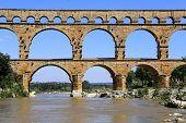 pic of aqueduct  - Southern France Roman aqueduct Pont du Gard - JPG