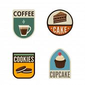 stock photo of shield  - Coffee Candy Shop Vintage Labels vector icon design collection - JPG