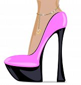 stock photo of big-foot  - white background and the ladys foot in the pink shoe - JPG