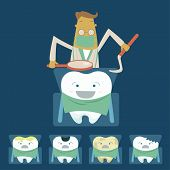 stock photo of dentist  - Dentist examines teeth of the patient on the dentist - JPG