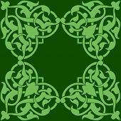 stock photo of arabian  - Arabian seamless pattern on green background - JPG