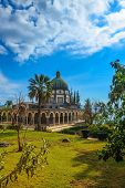 foto of beatitudes  - The dome of basilica is surrounded by gallery with columns - JPG