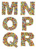 pic of beads  - Letters of the alphabet M through R made from colorful glass beads on a white background - JPG
