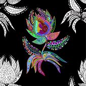 image of lilas  - Seamless floral vivid pattern with colorful flowers on black - JPG