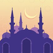 stock photo of moon silhouette  - Vector seamless background with silhouette of mosque moon and stars - JPG