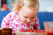 Adorable Toddler With Strawberry Pie