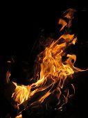 pic of bonfire  - Closeup of bonfire or campfire at campsite - JPG