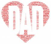 stock photo of adoration  - Isolated image of tag clouds in the shape of red heart inscribing DAD related to Father - JPG