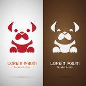 pic of pug  - Vector image of an pug dog design on white background and brunette background Logo Symbol - JPG