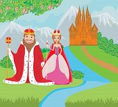 stock photo of scepter  - queen and king are in front of the castle  - JPG