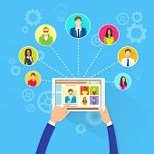 picture of collaboration  - Remote Working Concept Internet Tablet Computer Manager Collaborate Business People Group Outsourcing Team Flat Vector Illustration - JPG