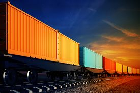 picture of wagon  - 3d illustration of wagon of freight train with containers on the sky background - JPG