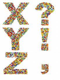 picture of punctuation marks  - Letters of the alphabet X through Z and punctuation marks made from colorful glass beads on a white background - JPG