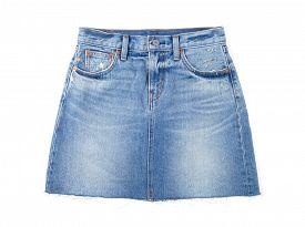 stock photo of jeans skirt  - Jean skirt isolated on white background - JPG