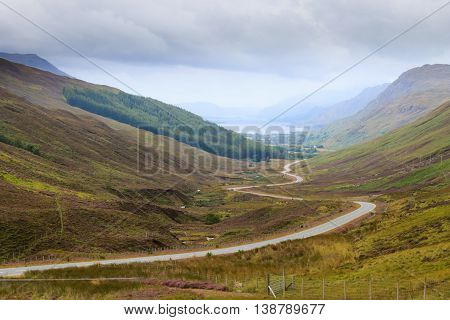 Scottish Road Trough Countryside