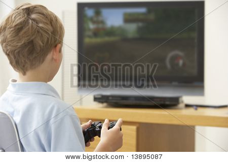 poster of Young Boy Playing With Game Console