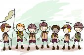 picture of boy scout  - Illustration of Boy Scouts in a Campsite - JPG