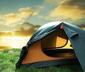 Постер, плакат: Зеленый Кемпинг палатка на Солнечный лугах