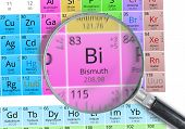 Постер, плакат: Bismuth Element Of Mendeleev Periodic Table Magnified With Mag