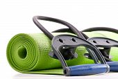 image of yoga mat  - Fitness Mat and Resistance Bands for health and exercise concepts - JPG