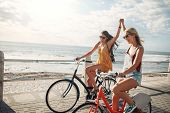 Female Friends Enjoying Cycling On A Summer Day poster