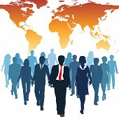 picture of human resource management  - Global human resources business people work team walk forward from world map - JPG