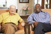 pic of senior men  - Senior men relaxing in armchairs - JPG