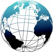 image of eastern hemisphere  - Global wireframe latitude longitude grid Atlantic Earth 3D globe - JPG