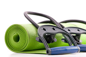 stock photo of yoga mat  - Fitness Mat and Resistance Bands for health and exercise concepts - JPG