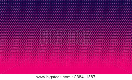 poster of Halftone Gradient Pattern Vertical Vector Illustration. Pink Dark Blue Dotted, Blue Halftone Texture