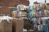 Garbage For Recycling: Cardboard, Paper, Plastic In A Recycling Factory. poster