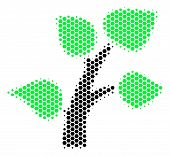 Halftone Hexagon Flora Plant Icon. Pictogram On A White Background. Vector Composition Of Flora Plan poster