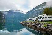 stock photo of motorhome  - Motorhomes at campsite by the Geirangerfjord in Norway - JPG