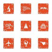 Scientific Mission Icons Set. Grunge Set Of 9 Scientific Mission Vector Icons For Web Isolated On Wh poster