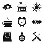 Warm Atmosphere Icons Set. Simple Set Of 9 Warm Atmosphere Vector Icons For Web Isolated On White Ba poster