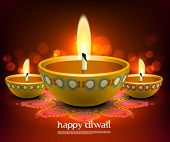 stock photo of kolam  - Vector Diwali Oil Lamp - JPG