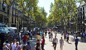 BARCELONA, SPAIN - AUGUST 16: La Rambla on August 16, 2011 in Barcelona, Spain. Thousands of people