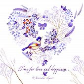 Watercolor Heart-shaped Clipart Of Lilac Nature Elements. Clipart Consist Of Berries, Flowers, Leave poster