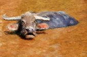 stock photo of wallow  - Painting of an Asian water buffalo wallowing - JPG