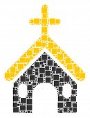 Christian Church Collage Icon Of Squares And Spheric Dots In Different Sizes. Vector Items Are Forme poster
